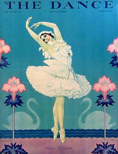 """Cover art. The Dance, January 1929. Anna Pavlova with swans.Pavlova continued to make long, exhausting tours, always with her own company to support. The years 1927 and 1928 were dedicated to a European tour.She performed constantly until her death in 1931. Her final words were to ask for her Swan costume to be prepared and, finally, """"Play that last measure softly."""""""