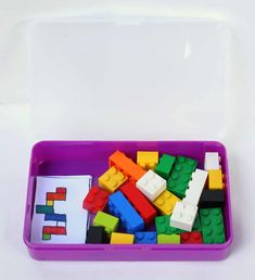 diy portable lego/duplo kit with 24 free printable activity cards. Quiet Time Activities, Lego Activities, Travel Activities, Indoor Activities, Educational Activities, Summer Activities, Family Activities, Lego Duplo, Lego Car
