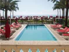 The four pools at Miami's five-star Acqualina Resort & Spa are situated right on Miami Beach, with no boardwalk separating them from the sands. Stately, symmetrical design and signature red lounge chairs evoke the vibe of a Mediterranean villa.