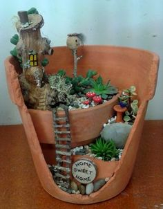 My new broken pot fairy garden