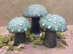 Set of 3 Concrete Garden Mushrooms by THEFUNGARDEN on Etsy, $65.00