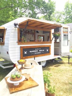 Handmade cocktails from The Wandering Sidecar Bar Co. in St. Louis, Missouri. This mobile bar service is a renovated 1960 Avalon camper. www.thewanderingsidecarbarco.com