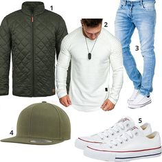 Street-Style mit Pullover, Steppjacke und Cap (m0997) #pullover #cap #jeans #converse #steppjacke #outfit #style #fashion #ootd #herrenmode #männermode #outfit #style #fashion #menswear #mensfashion #inspiration #menstyle #inspiration