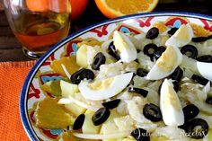 Ensalada, naranja, bacalao, naranja y bacalao, ensalada de naranja, ensalada de bacalao, Julia y sus recetas, dieta mediterránea, receta de verano, ensalada fria, comida sana, cocina saludable, cocina sana
