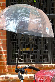a stroller umbrella—not to be confused with an umbrella stroller.