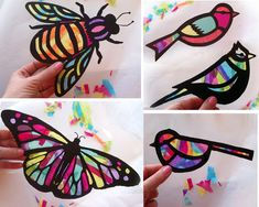 Kids Craft Butterfly and Dragonfly Stained Glass Suncatcher Kit with Birds, Bees, Using Tissue paper, Arts and Crafts Kids Activity, project Projekt-Kinder Craft Schmetterling Glasmalerei von HelloSprout Stained Glass Kits, Dragonfly Stained Glass, Stained Glass Crafts, Paper Butterfly Crafts, Butterfly Kit, Paper Crafts, Glass Butterfly, Crafts For Teens, Crafts For Kids