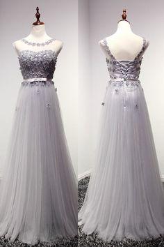 High Quality Prom Dress,A-Line Prom Dress,Tulle Prom Dress,O-Neck Prom Dress, Appliques Prom Dress  PD160159