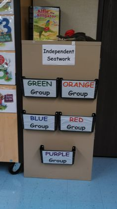 Great way to organize your independent Seatwork Activities. This helps your room look neater and cleaner! Just use velcro or teachers tape to attach the plastic file holders. Art Classroom Management, Organization And Management, Classroom Organisation, Teacher Organization, Classroom Layout, Future Classroom, School Classroom, Classroom Ideas, Creative Teaching