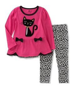 Pink Cat Tunic & Leggings - Infant, Toddler & Girls #zulily #zulilyfinds