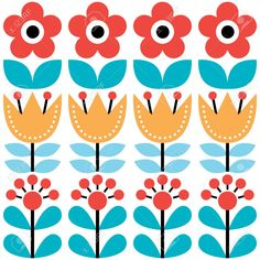 Illustration of Scandinavian seamless pattern, Swedish folk art design, retro floral background vector art, clipart and stock vectors. Folk Embroidery, Learn Embroidery, Vintage Embroidery, Embroidery Patterns, Scandinavian Pattern, Scandinavian Folk Art, Scandinavian Embroidery, Folk Art Flowers, Flower Art