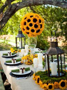 Deco table exterieur tournesol fleurs champêtres
