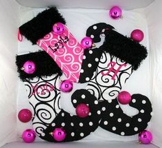 Pink, black and white girly Christmas stockings