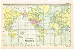Knick of Time: Antique Graphics Wednesday - 1900's Maps of the World & ALL 50 States!