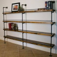 Industrial Pipe Shelving with Bottle Stop Bars