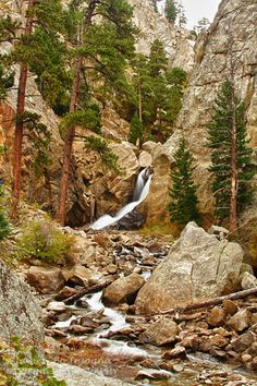 A long view of Boulder Falls a water fall near Boulder Colorado on North Boulder Creek in Boulder Canyon a beautiful drive.  Buy this Fine Art nature landscape photography print, canvas art and stock image in all sizes by Colorado nature landscape photographer James Bo Insogna (C) 2011