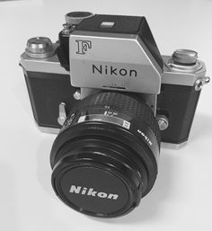 """Nikon F, Japan 1959-73. Nikon's first 35mm SLR. It was the first SLR system to be adopted and used seriously by the general population of professional photographers, especially by those photographers covering the Vietnam War.  The """"F"""" in Nikon F from the designer of the bayonet mount, Mr. Fuketa."""