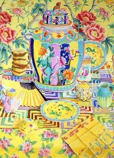 Ginger Jar Series: Yellow Still Life - painting by Kaffe Fassett Illustrations, Art And Illustration, Art Floral, Objet D'art, Sculpture, Contemporary Artists, Modern Contemporary, Chinoiserie, Needlepoint