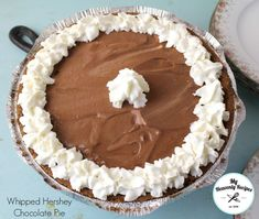 Whipped Hershey Chocolate Pie - A quick and easy chocolate dessert recipe that takes a few minutes to make. Take out of the freezer before your guests arrive and let thaw. There's no heating up the house with this recipe.
