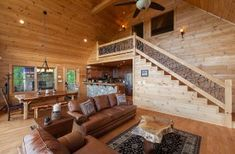 Gorgeous All-Wood Interior and Hand-Crafted Railing Blue Ridge Cabin Rentals, Georgia Cabin Rentals, Wood Interiors, Lodges, Stairs, Luxury, Home Decor, Travel, Cabins
