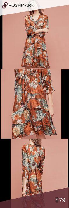 Hemant & Nandita dress nwt Sz 10 Floral Rust color tiered floral dress anthropologie Anthropologie Dresses Midi