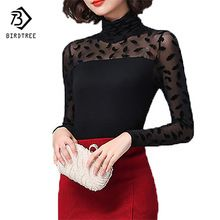 Autumn Women Mesh Black Blouse Feather/ Rose /Polka Dot /Jacquard Lace Shirts Strechy Turtleneck Tops Ladies Clothes Plus Size //FREE Shipping Worldwide //