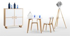 Fjord Compact Dining Table, Oak and White   made.com