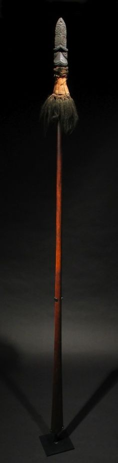 Taiaha: This was a favourite weapon in the old fighting days, and warriors were trained until they became remarkably proficient in its use.    When a man armed with a taiaha wished to take advantage of an enemy, he would advance with his weapon at the trail (to), the blade (rau) at  the rear and lowered close to the earth. When near enough to strike, the rau would be quickly raised and the blow delivered.