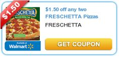 Hurry and print this high value coupon for #pizza night.  Save for an upcoming #Publix BOGO deal! $1.50 off any two FRESCHETTA Pizzas