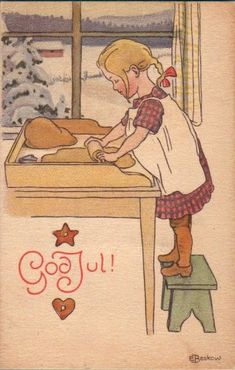 Elsa Beskow was the illustrator that shaped my taste I think. The books my mother had loved as a child in Sweden were passed on to me and I poured over every detail and loved them too. --- I too Elsa Beskow. Norwegian Christmas, Danish Christmas, Noel Christmas, Vintage Christmas Cards, Scandinavian Christmas, Christmas Images, Vintage Cards, Winter Christmas, Vintage Postcards
