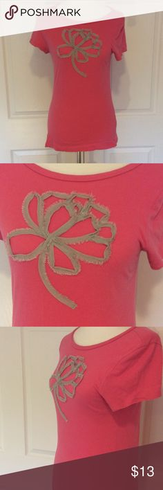 J. Crew pink/grey flower tee True pink 100% cotton t-shirt with embroidered, dimensional grey flower. Tee is in good condition. J. Crew Tops Tees - Short Sleeve