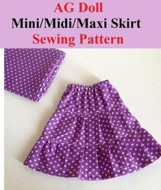Skirt Patterns Sewing, Girls Skirt Patterns, Skirt Pattern Free, Skirt Sewing, Star Patterns, Sewing Patterns Free, Sewing Doll Clothes, Doll Clothes Barbie, Doll Clothes Patterns