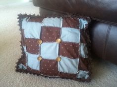 Chocolate-blue patchwork pillow hand sewn by Creative Hands #sewing #patchwork #pillows