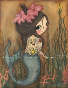 Mermaid Print The Tattooed Mermaid LARGE PRINT 11 by thepoppytree