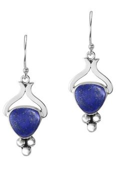 These striking blue lapis earrings deserve to be on full display, so wear them with a classy updo and the attire of your choice. Handmade Jewelry | Lapis Lazuli Jewelry | Dangle Earrings