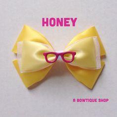 honey hair bow by abowtiqueshop on Etsy https://www.etsy.com/listing/210826539/honey-hair-bow