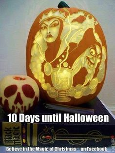 These pumpkin carvings of a skull & Disney's Wicked Queen from Snow White are marvelous.