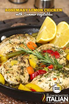 Rosemary Lemon Chicken Skillet with Summer Veggies is a one-skillet meal that boasts incredible lemon and rosemary flavor absorbed right into the chicken and vegetables, leaving you with amazingly moist and delicious chicken that goes from prep to plate in just 20 minutes. An easy recipe sure to make your recipe file.