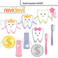 Teeth clipart, commercial use clip art, digital graphic, digital images - Tooth Fairytale 07585 by revidevi on Etsy