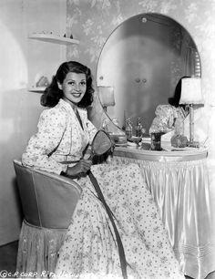 Rita Hayworth at home in Hollywood.
