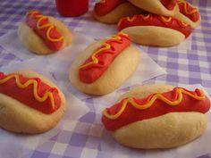 butter hearts sugar: Hot Dog Cookies