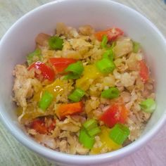 Very low carb egg fried caulifllower rice- The Vegetarian Atkins diary