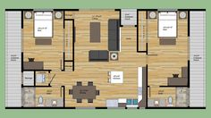 Modern Style House Plan - 2 Beds 2 Baths 1023 Sq/Ft Plan #474-7 Main Floor Plan - Houseplans.com