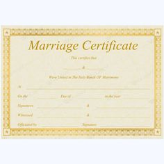Marriage Certificate GLD) - Get high quality, professionally designed template. Templates are available in Word & PDF Formats. Wedding Certificate, Marriage Certificate, Certificate Design, Certificate Templates, Romantic Song Lyrics, Specialty Paper, Marriage Advice, Wedding Photos, Words
