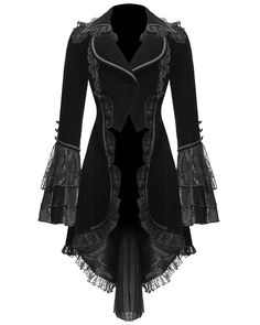 Tailcoat style jacket from Punk Rave, black velveteen polyester fabric. Wide, curved front cutaway below the waist, with braiding detail and lace frill edging, extending to the back, where a pleated lacy inset panel forms long tails.