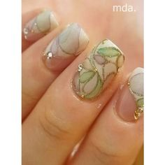 Pastel stained glass nails ❤ liked on Polyvore featuring beauty products and nail care