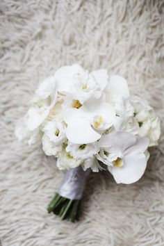 Photo: Bo and Daniel of CLY by Matthew; Gorgeous white orchid wedding bouquet