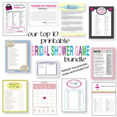 Top 10 Popular Bridal Shower Games in one big bund - Top 10 Popular Bridal Shower Games in one big bundle for you! Print them right from your own computer! Bonus - recipe card included too! Printable Bridal Shower Games, Wedding Shower Games, Shower Party, Wedding Showers, Sister Wedding, Friend Wedding, Dream Wedding, Couple Shower, Here Comes The Bride