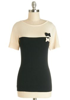 Cute Contrast Top by Myrtlewood - Mid-length, Black, Tan / Cream, Solid, Bows, Work, Colorblocking, Darling, Short Sleeves, Fall, Exclusives...