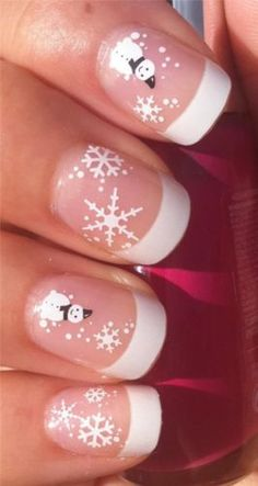 Nail Art Water Decals Transfers Stickers Christmas Snowman Snowflakes 807 #winter