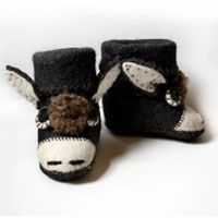 "These whimsical booties will help keep your kiddo's toes warm while keeping them entertained. They are hand felted out of pure Mongolian yak wool and are extremely durable, although they are recommended for indoor use. Each bootie is approximately 5""(14cm) in length, 2.5""(7cm) wide, and 4.5""(11cm) tall. To find out more, click the picture!  Price: $25.00. For other products from the Snow Leopard Trust, visit: http://www.snowleopard.org/shop/"